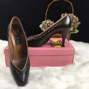 Vintage Vaneli Brown Leather High Heeled Shoes